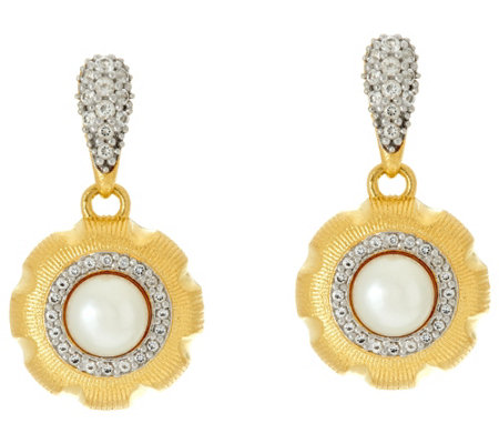 """As Is"" Genesi 18K Clad Cultured Pearl & White Topaz Drop Earrings"