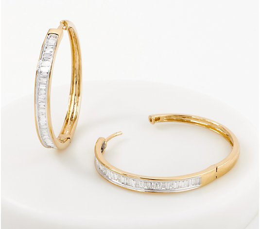 Affinity Sterling Silver Baguette Diamond Hoops, 1.00cttw