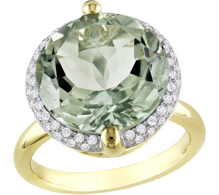 14K 9.60 ct Green Quartz & 1/4 cttw Diamond C ocktail Ring