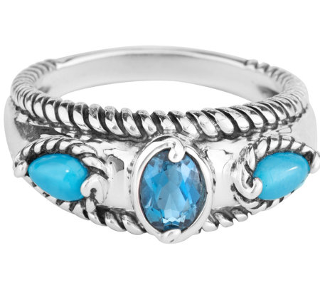 Carolyn Pollack  Sleeping Beauty Turquoise & Blue Topaz Ring