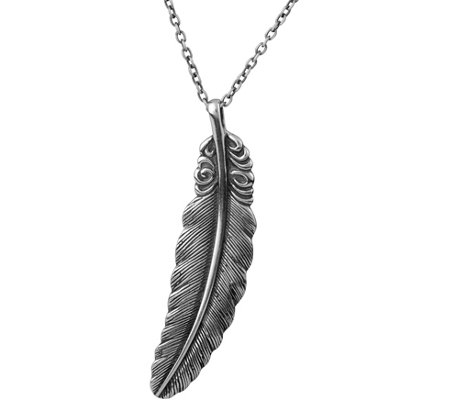 Or Paz Sterling Men's Textured Leaf Pendant w/ Chain