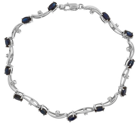 "14K Diamond & Gemstone Wavy 7"" Bracelet, 5.2g"
