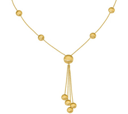14K Satin Finish Beaded Y Necklace, 6.0g