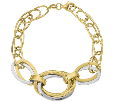 14K Two-tone Interlocking Oval Link Bracelet, 7.6g