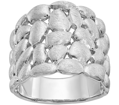 Sterling Polished & Satin Textured Nugget Ring