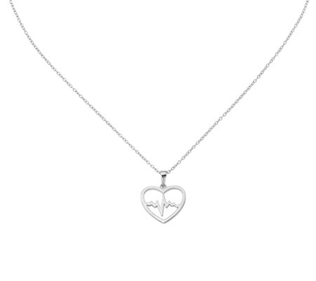 Sterling Heartbeat in Heart Pendant with Chainby Silver Style