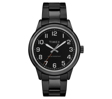 Timex Men's New England Black Stainless AnalogWatch