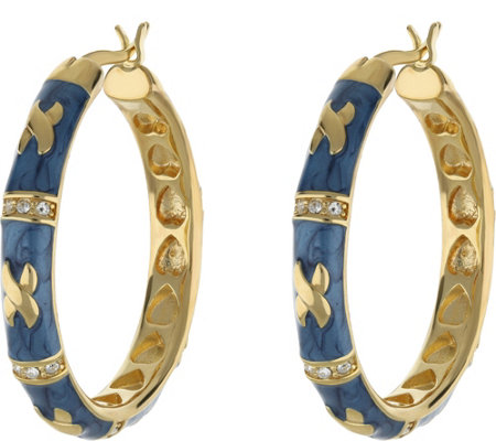 "Lauren G Adams Goldtone Enamel Hoop Earrings with ""X"" Design"