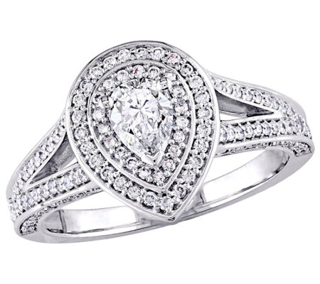 Affinity 14K Gold 9/10 cttw Pear-Shaped DiamondHalo Ring