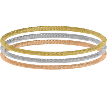 Italian Gold Set Of 3 Tri Colored Bangles 14k 10 6g