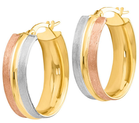 "Italian Gold 1"" Tri-Color Oval Hoop Earrings 14K, 2.4g"