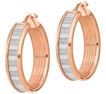 Italian Silver 14K Rose Gold Plated Glimmer Hoop Earrings