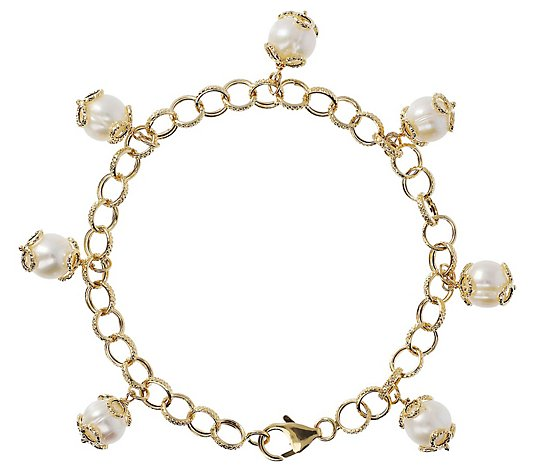 "Honora 8"" Cultured Pearl Charm Bracelet, 14K"