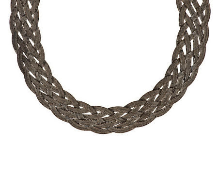 "Vicenza Silver Sterling 20"" Diamond Cut Braided Woven Necklace, 40.6g"