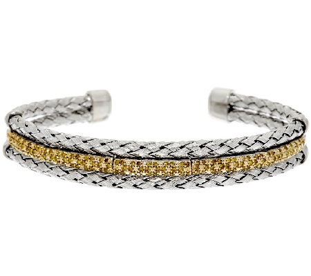 Color Pave' Woven Diamond Cuff, Sterling, 3/4 cttw, by Affinity