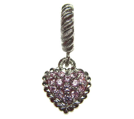 NEW Judith Ripka Sterling Silver Two Sided Pave/' Heart Charm Enhancer