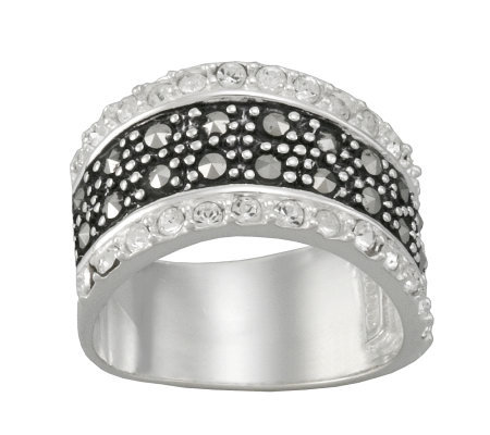 Suspicion Sterling Marcasite & Crystal Wavy Band Ring