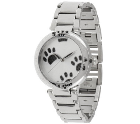 Stainless Steel Black Crystal Paw Print Round Case Bracelet Watch