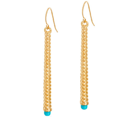 Oro Nuovo Turquoise Ribbed Stick Design Earrings 14K