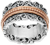 Or Paz Sterling Silver Floral Lace Design Spinner Ring - J332279