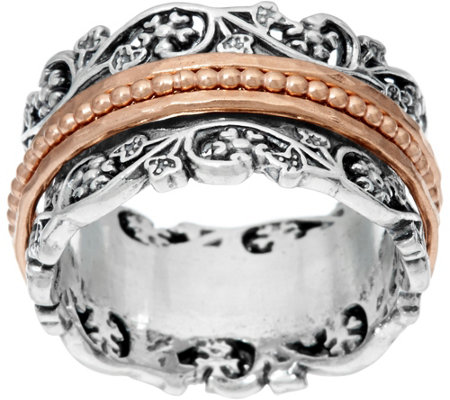 Or Paz Sterling Silver Floral Lace Design Spinner Ring