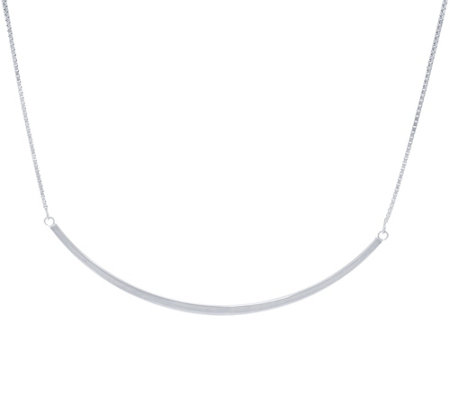 """As Is"" Sterling Silver Curved Bar Necklace by Silver Style"