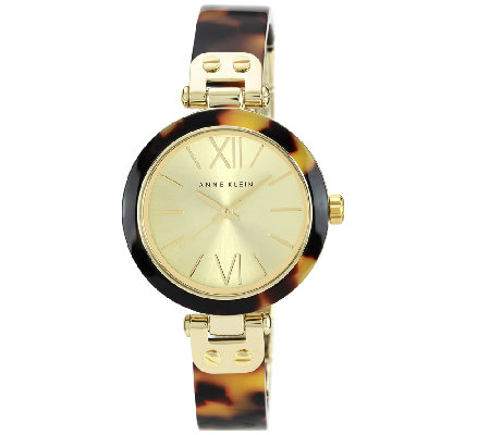 Anne Klein Ladies Goldtone Tortoise Plastic Bezel Watch