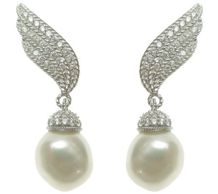 Judith Ripka Sterling & Cultured Pearl Ear Climbers