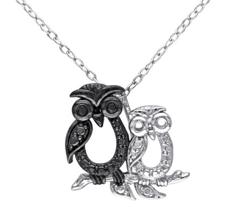 Black Diamond Accent Owl Pendant w/ Chain, Sterling