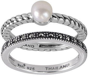 Suion Sterling Marcasite Pearl 2 Piece Ring Set J344379