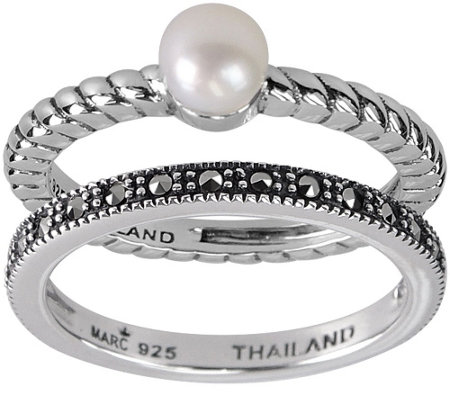 Suspicion Sterling Marcasite & Pearl 2-piece Ring Set