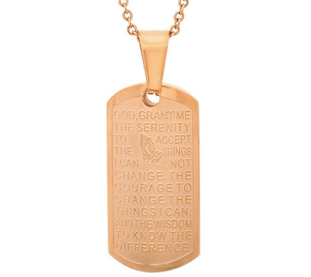 Stainless Steel Dog Tag Serenity Prayer Pendant