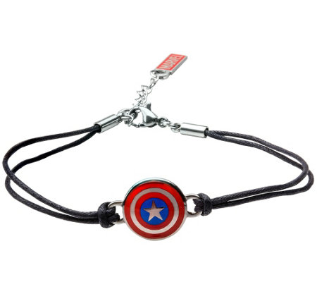 Marvel Captain America Shield in Black LeatherBracelet