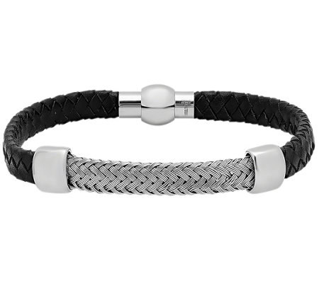Forza Men's Stainless Leather w/ Woven StationBracelet