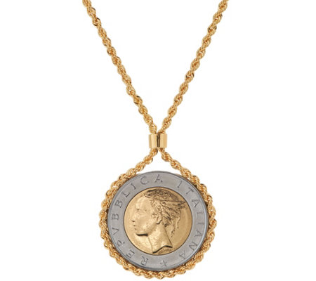 Bronze 500 Lire Coin Necklace by Bronzo Italia