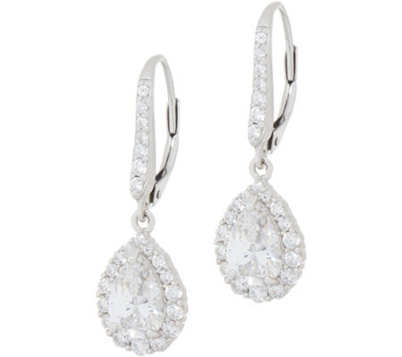 Diamonique Pear Halo Leverback Earrings, Sterling