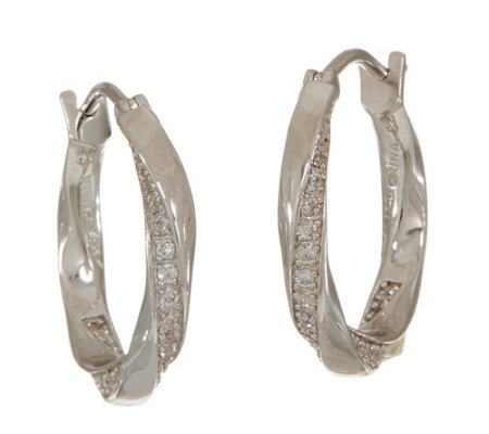 Diamonique Twisted Hoop Earrings, Sterling