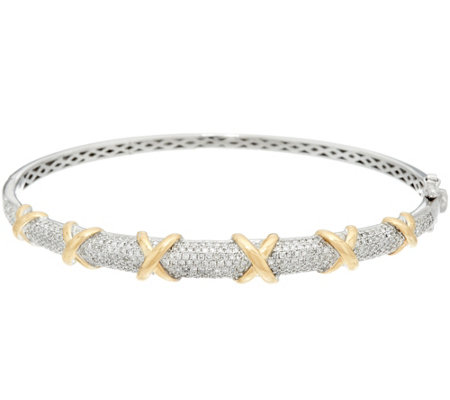 """As Is"" Pave' Diamond Two-Tone Large Bangle 14K,1.00 cttw, Affinity"