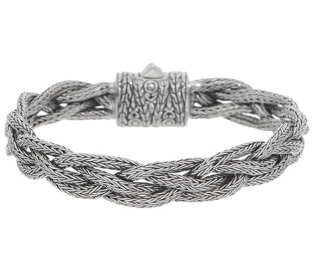 Artisan Crafted Sterling Silver Tulang Naga Braided Bracelet