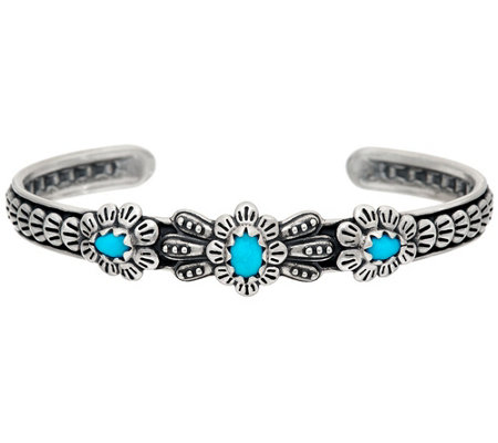"""As Is"" American West Sleeping Beauty Turquoise Sterl 3-Stone Cuff"