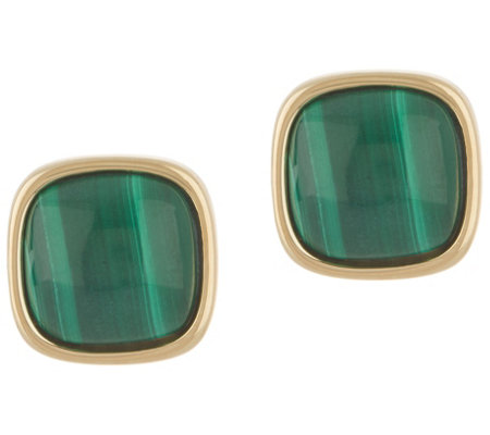 Bronzo Italia Cabochon Gemstone Bronze Stud Earrings