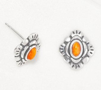 American West Rainbow Gemstone Sterling Silver Stud Earrings - J361179