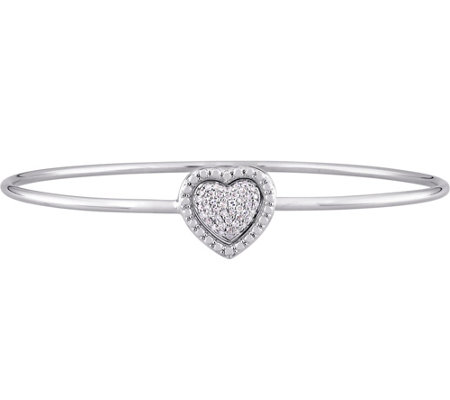 Heart Diamond Bangle, Sterling, 1/7 cttw, by Affinity