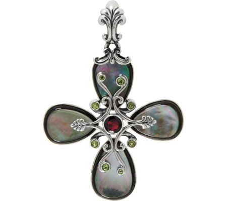 Carolyn Pollack Sterling Gemstone Statement Cross Enhancer