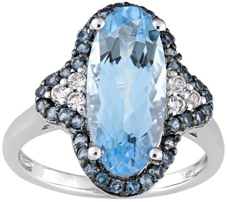 Sterling Silver 4.90 cttw Sky & London Blue Topaz Ring