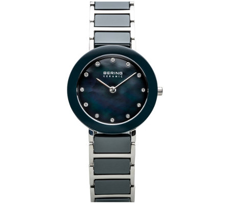Bering Women's Stainless & Blue Ceramic Bracelet Watch