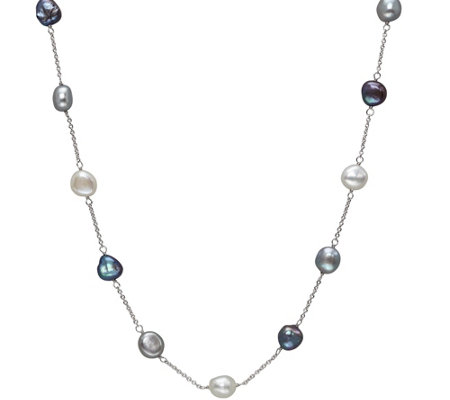 Honora Sterling 18 Baroque Cultured Pearl Station Necklace