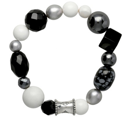 "Elyse Ryan Sterling Black Gemstone ""Wrist Rocks"" Bracelet"