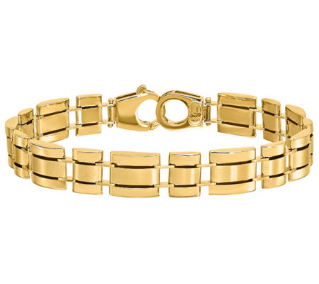 Italian Gold Square & Rectangle Link Bracelet, 14K 22.0g