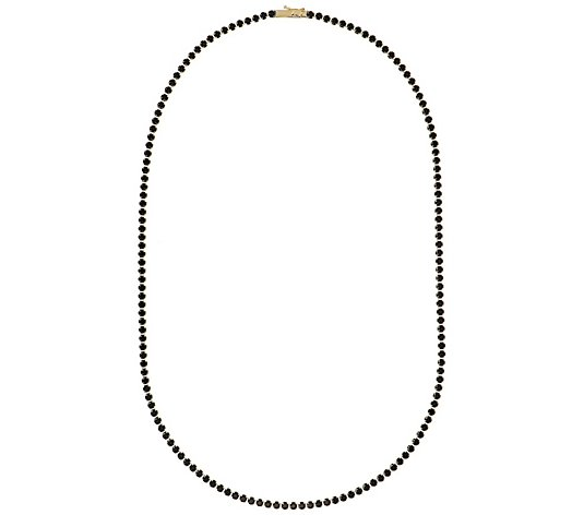 "Italian Gold 10.00 cttw Black Spinel 20"" Tennis Necklace, 14K"